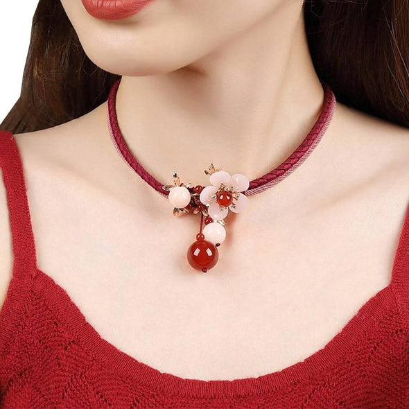 Beryl Red Agate Necklace - ThreeSixtyZone