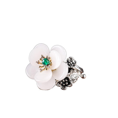 Ethnic White Flower Agate Adjustable Ring - ThreeSixtyZone