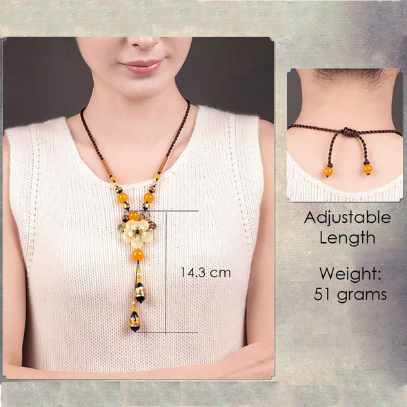 Radiant Yellow Ethnic Agate Necklace - ThreeSixtyZone