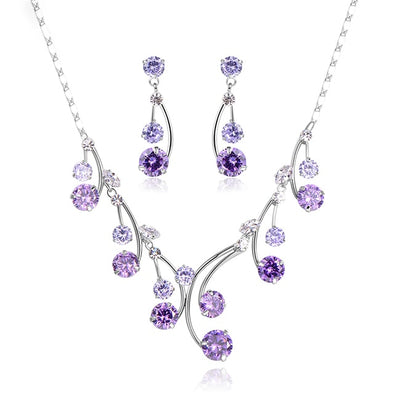 Purple Spring Waterdrop Necklace and Earrings SET - ThreeSixtyZone