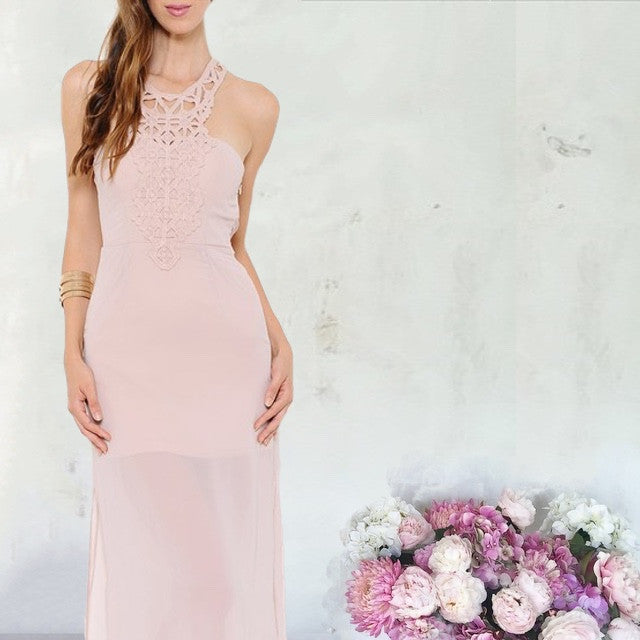 Casablanca Crochet Detail Maxi Dress - Blush