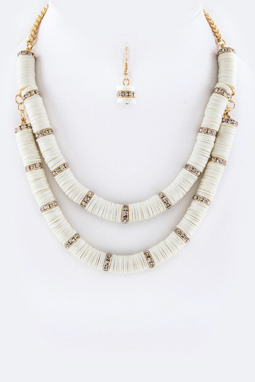 Exuma Double Layer Necklace - Cream + Crystal