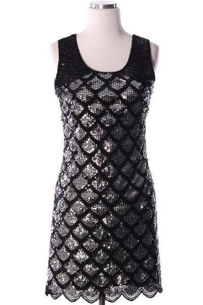 Around Midnight Sequin Dress - Black + Silver - Daily Chic