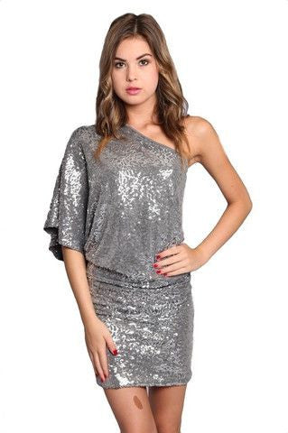 Steal the Show One Shoulder Sequin Dress - Silver - Daily Chic