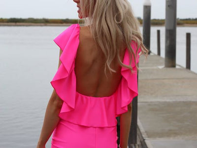 Melania Open Back Ruffle Dress- Pink - Daily Chic