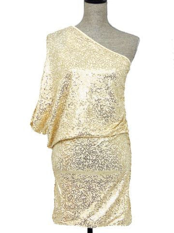 Steal the Show One Shoulder Sequin Dress - Gold - Daily Chic