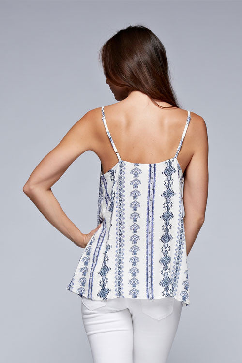 Spirit of Summer Lace Accent Tank - Natural + Blue