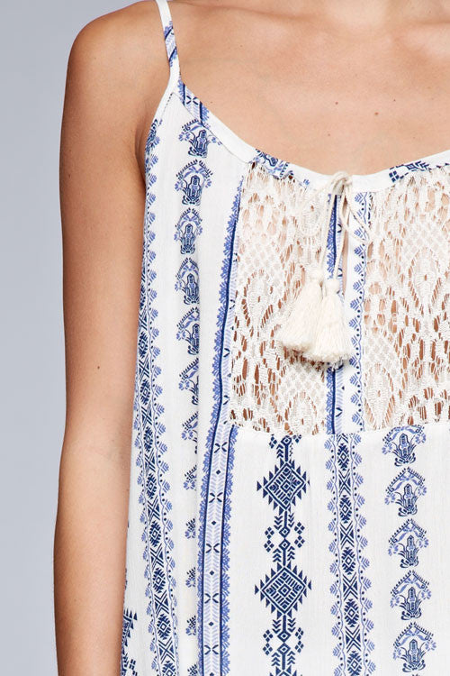 Spirit of Summer Lace Accent Tank - Natural + Blue - Daily Chic