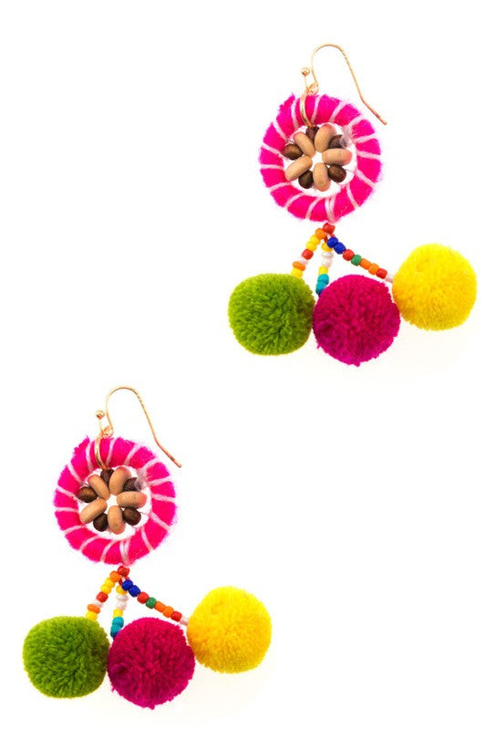 Maui Pom Pom Earrings - Pink + Multi