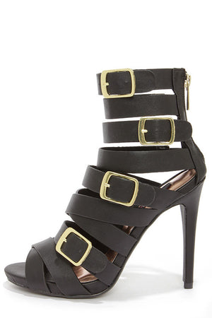 ARENA BLACK BUCKLED CAGED HEELS - Daily Chic