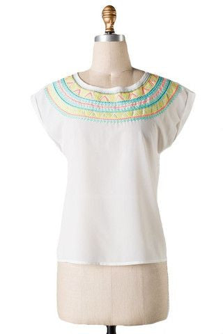 Lucia Embroidered Top- White