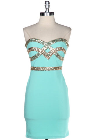 Crown Jewels Sweetheart Dress - Mint - Daily Chic