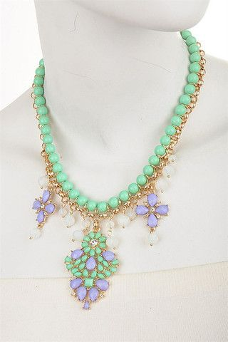 High Society Necklace- Mint + Lilac + Gold - Daily Chic