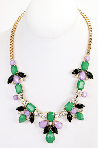 Glam Garden Bib Necklace - Green + Lavender - Daily Chic