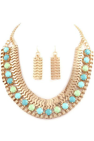 Egyptian Queen Necklace + Earring Set - Mint + Aqua - Daily Chic