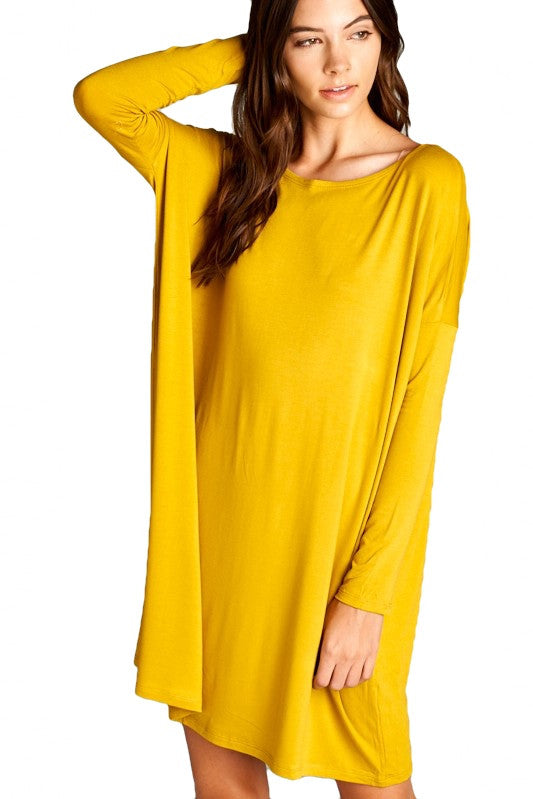 Walk This Way Oversized Tunic Dress - Mustard