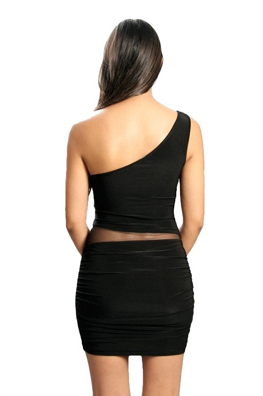 Modern Myth One Shoulder Mesh Cutout Dress - Black