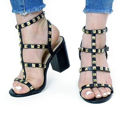 Valentina Strappy Studded Heeled Sandals - Beige or Black - Daily Chic