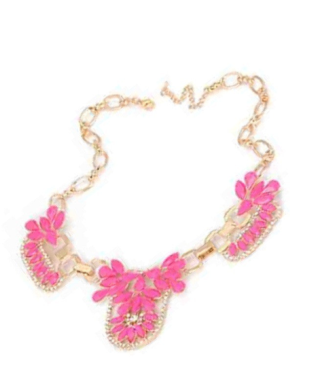 Starra Crystal Necklace - Neon Pink