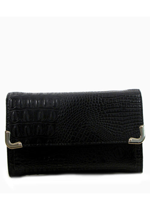 Stay Out Later Alligator Skin Clutch - Black