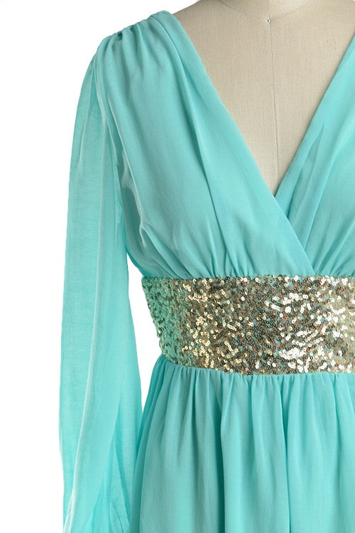 Roman Goddess Long Sleeve Sequin Dress - Mint + Gold - Daily Chic