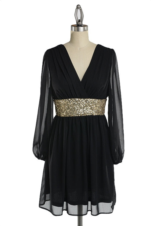 Roman Goddess Long Sleeve Sequin Dress - Black + Gold