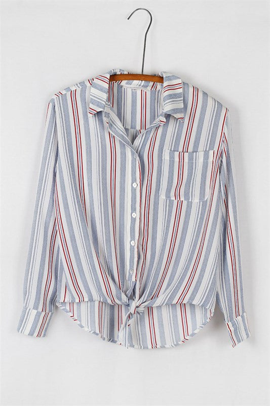 State of Mind Tie Striped Blouse - Multi