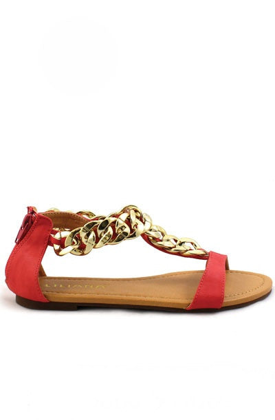 Aurora Chain Link Sandals - Red Coral