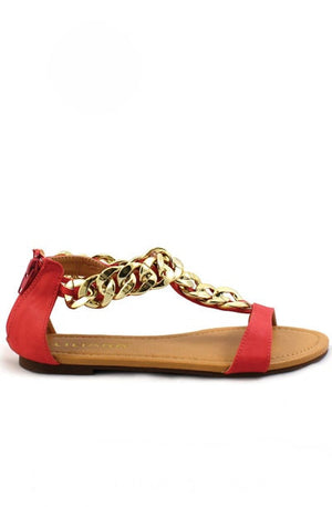 Aurora Chain Link Sandals - Red Coral - Daily Chic