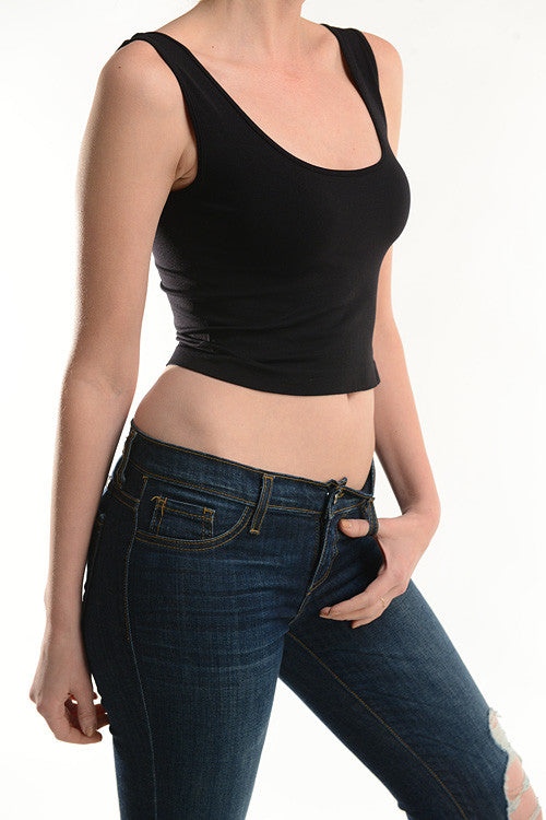 The Classic Stretch Crop Tank - Black