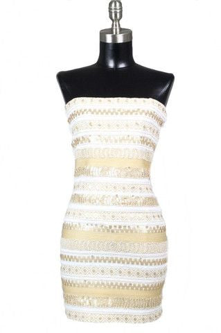 Midnight Star Embellished Strapless Dress - White + Gold - Daily Chic