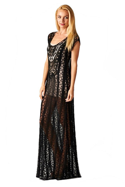 São Paulo Sheer Lace Overlay Beach Cover Up Dress - Black - Daily Chic