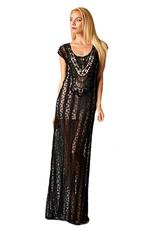 b968c184988 São Paulo Sheer Lace Overlay Beach Cover Up Dress - Black - Daily Chic