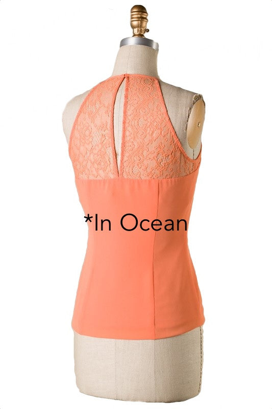 The Sweetest Thing Lace Panel Top - Ocean
