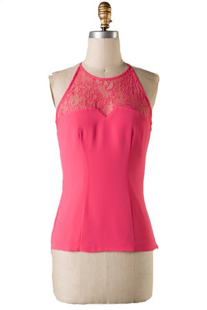 The Sweetest Thing Lace Panel Top - Watermelon - Daily Chic