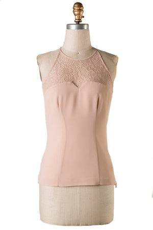 The Sweetest Thing Lace Panel Top - Almond - Daily Chic