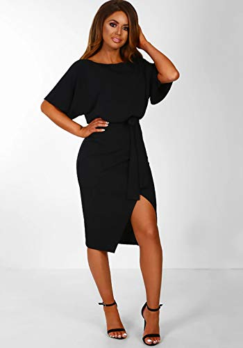 Tinsley Belt + Slit Mini Dress - Black, Navy, or Olive - Daily Chic