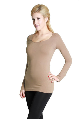 Essential Seamless Scoop Neck Top - Black