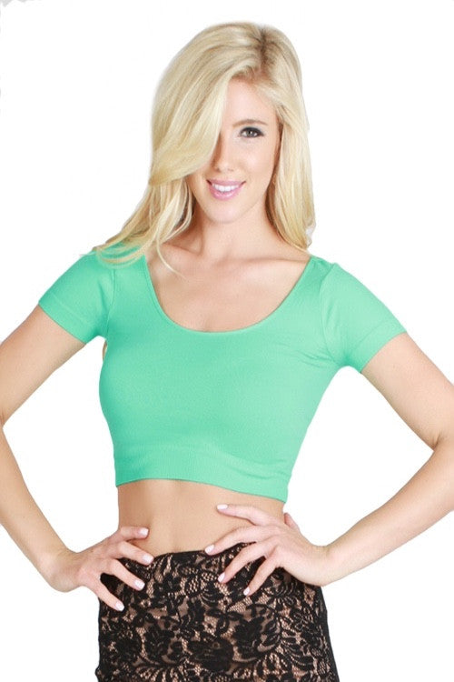 The Classic Stretch Crop Top - Tropical Green