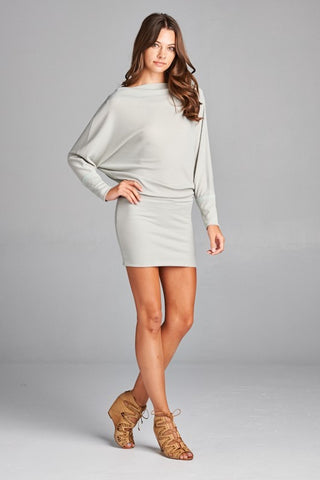 d8b91a489a3b Misha Off the Shoulder Tunic Dress - Light Grey – Daily Chic