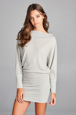 Misha Off the Shoulder Tunic Dress - Light Grey - Daily Chic