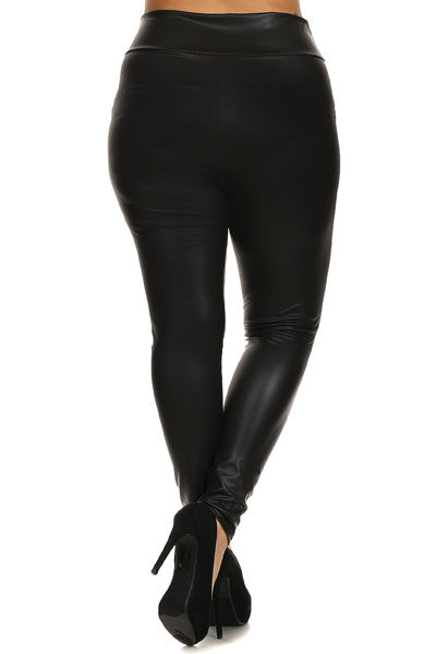 DC Curvy+ Zoe Leather Look Leggings - Black