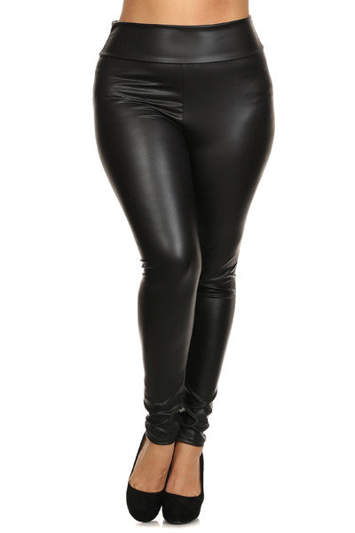 DC Curvy+ Zoe Leather Look Leggings - Black - Daily Chic