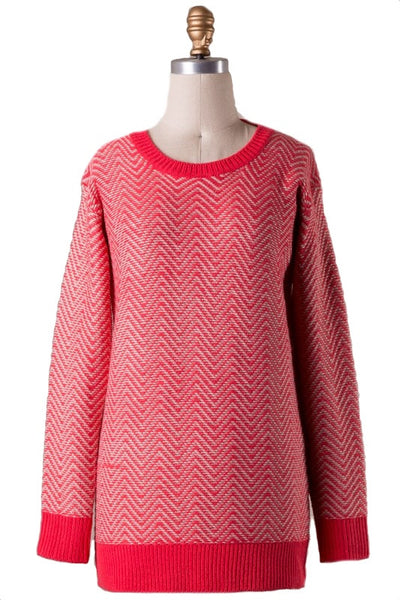 Chevron the Up and Up Sweater - Red Coral - Daily Chic
