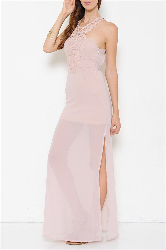 Casablanca Crochet Detail Maxi Dress - Blush - Daily Chic