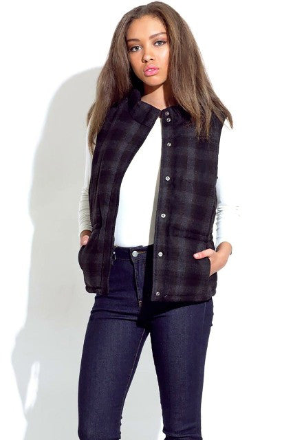 Highlands Buffalo Check Puffer Vest - Dark Grey