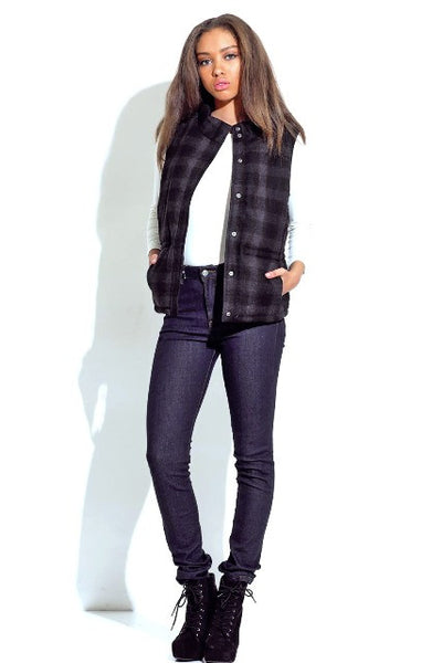 Highlands Buffalo Check Puffer Vest - Dark Grey - Daily Chic