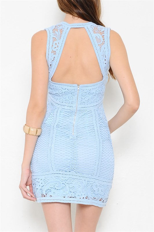 All I Want Open Back Lace Dress - Light Blue