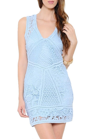 All I Want Open Back Lace Dress - Light Blue - Daily Chic