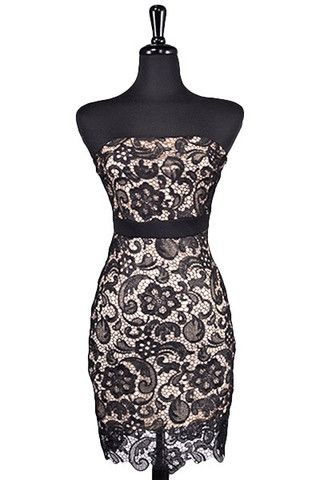 Now & Forever Strapless Lace Dress - Black